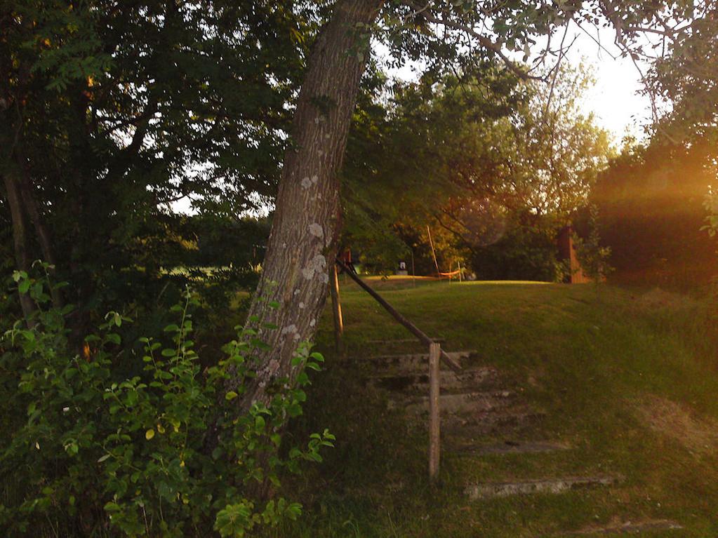 nicht weit weg, eine kleine Gartenanlage mitten zwischen Wald und Wiese