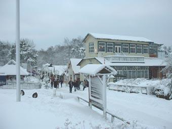 Prerow im Winter - Seebrücke im Schnee