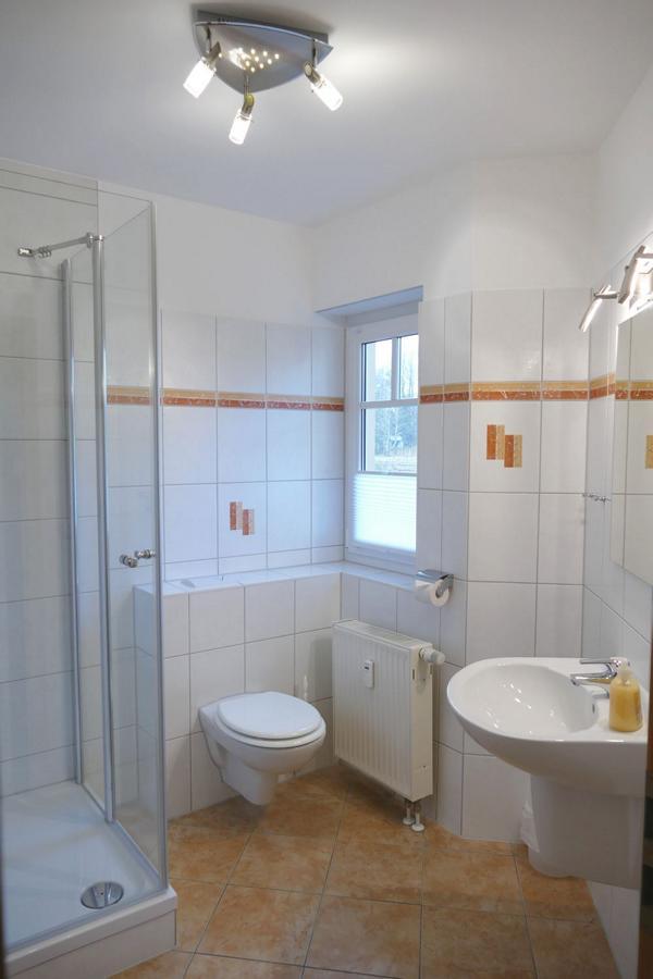 Das Bad der Ferienwohnung mit Dusche und WC