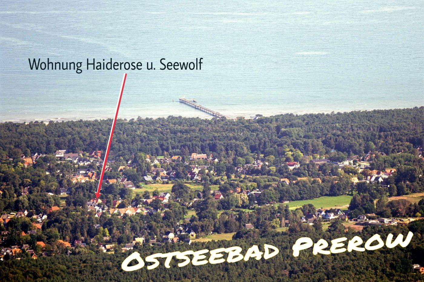 Luftaufnahme Ferienwohnungen Haiderose und Seewolf