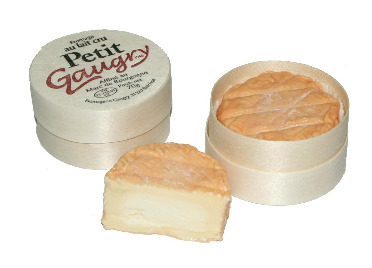 PETIT GAURY - Der typische Geschmack des Epoisses, der mit fortschreitender Reife des Käses sehr kräftig wird, verbindet sich mit einer schmelzenden Textur und ergibt so ein Produkt nach unverfälschter, französischer Tradition, im originellen Mini-Format.