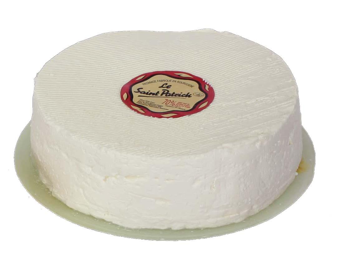 LE SAINT PATRICK - Frischkäse mit Creme Fraîche angereichert. Wenn er frisch ist, schmeckt er sehr zart, mild und sahnig. Wenn er gereift ist, hat er eine weiße Schimmelrinde und schmeckt kräftiger.