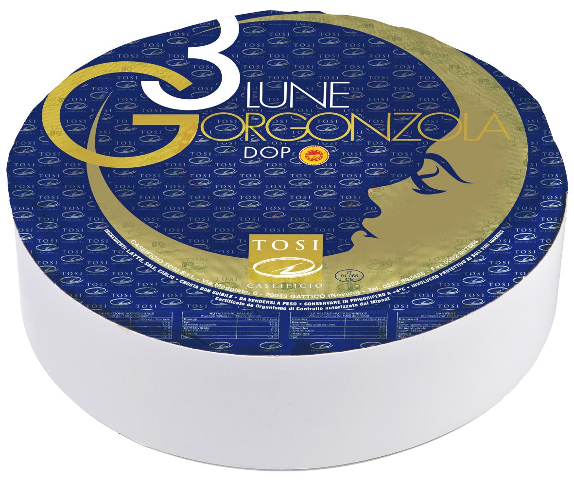 3 LUNE GORGONZOLA - Greifen Sie zu Ihren Löffeln - dieser Käse mit Blauschimmel verfügt über eine besonders cremigsahnige Konsistenz! Der Teig ist gleichmäßig von Blauschimmel durchzogen, der dem Käse einen milden, milchigen Geschmack verleiht.