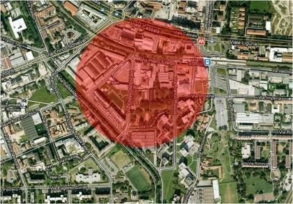 L'area rossa individua la zona in cui sono stati ritrovati i reperti