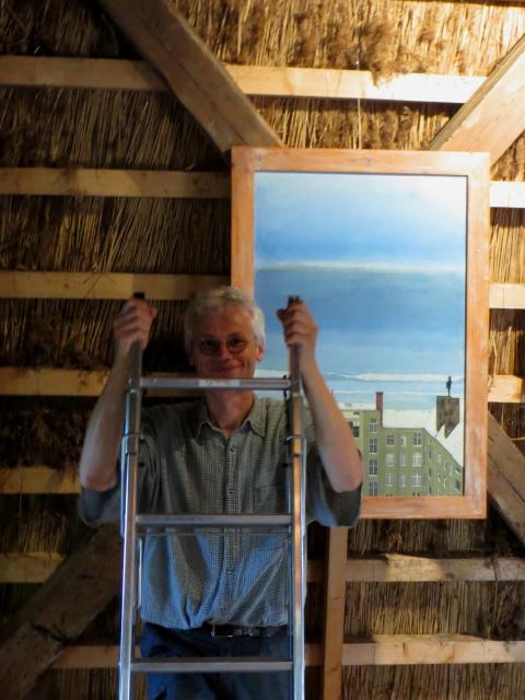 Wärend der Vorbereitung einer Ausstellung in der Mühle Wagria, Grebin.