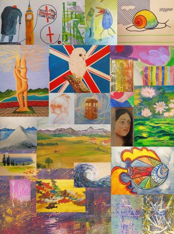 Collage aus verschiedenen Einzelbildern von Malern und Malerinnen der Kunst- und Trommelstation