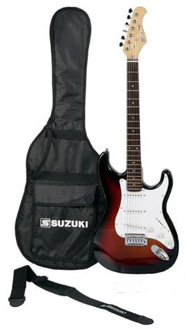 guitare suzuki type strato sunburst avec housse et accessoires