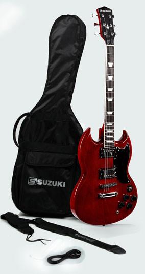 guitare suzuki type SG avec housse et accessoires