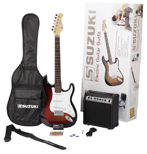 pack guitare suzuki type strato avec housse et accessoires et ampli