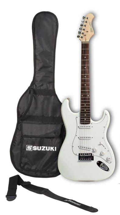 guitare suzuki type strato white avec housse et accessoires
