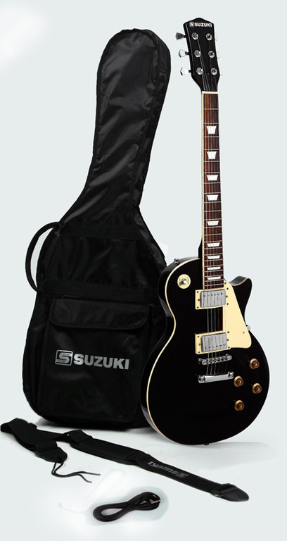 guitare suzuki type les paul black avec housse et accessoires