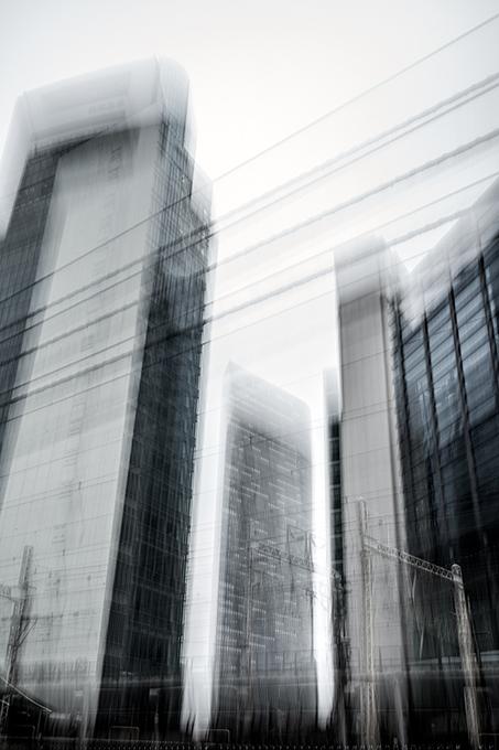 Hochhäuser in Shinbashi in Tokyo, Japan als Farbphoto