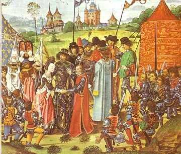 Le mariage d'Henri V et de Catherine de France en 1420 peintre anonyme (Source : http://bit.ly/1K9ueK7 - Sous licence Domaine public via Wikimedia Commons - http://bit.ly/1SoR7Z9)