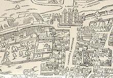 Site du tournois, rue Saint Antoinne vers 1550. (Source : Licorne37)