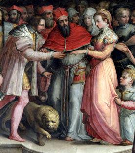 Mariage d'Henri et de Catherine.Vasari. (Source : http://bit.ly/1MvCQIs)