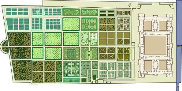 Jardin des Tuileries et palais projeté par Catherine. Dessin de Gilles Brémond d'après une source historique. Plan d'Androuet Du Cerceau