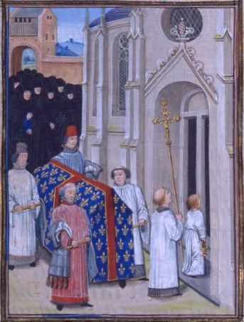 Funérailles de Philippe VI : l'éffigie n'est pas encore intégrée au cérémonial. (Source : Chroniques de Jean Froissart, BNF.Téléversé par Cyberprout, Wikimedia)