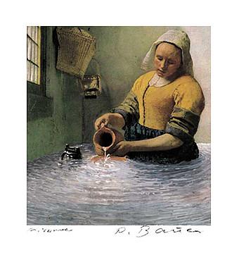 nach Vermeer (übermalter Offsetdruck)