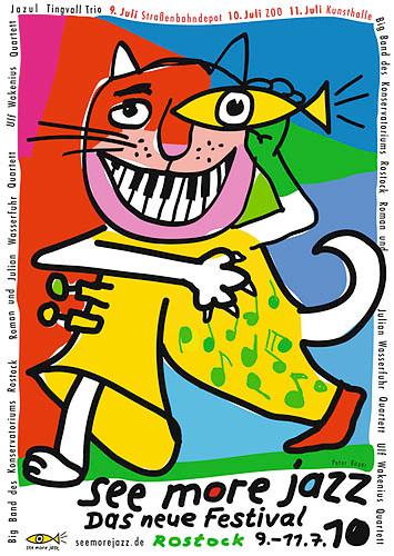 Peter Bauer, Rostock, Plakat und Gesamtausstattung für ein Jazzfestival