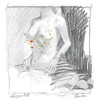 Peter Bauer, Rostock Zeichnung »bespritzt«