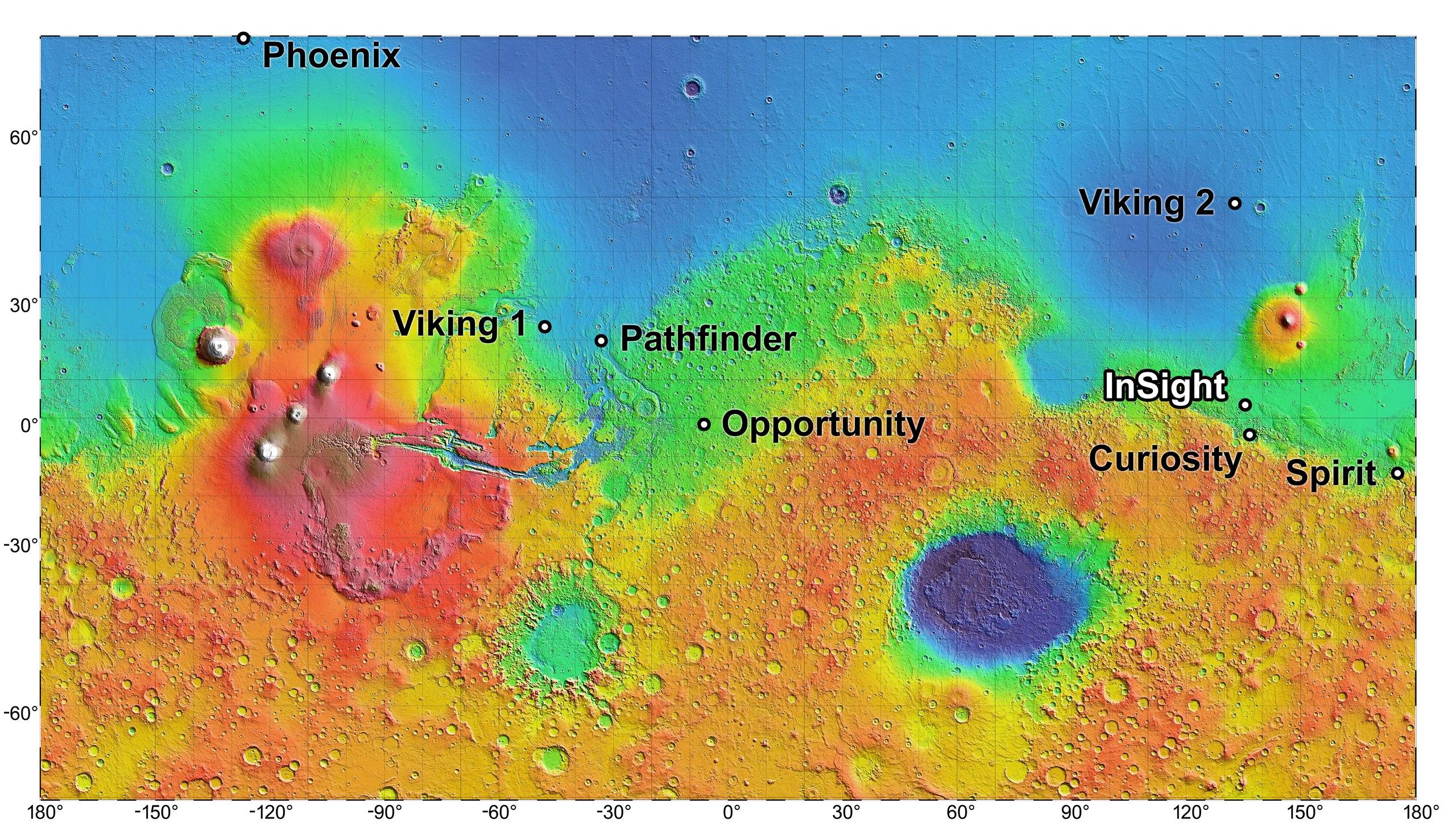 "Убитый Марс. Справа причина - гигантский кратер от удара астероида Hellas Planitia глубиной 7-9км  диаметр 2300км, слева следствие - ""вулкан Олимп"" высотой 21 км диаметр 540км"