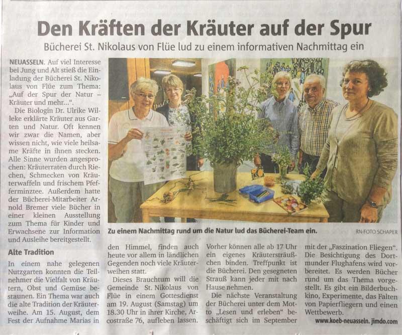 Bericht der Ruhr-Nachrichten vom 22. Juli 2017