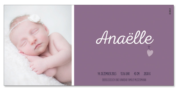 Anaëlle: 1-seitig, 210×105 mm   Foto: © Nicole Ruffner-Racheter, www.babyaugenblick.ch