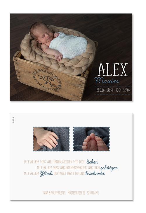 Alex Maxim: 2-seitig, 148×105 mm   Foto: © Michaela Bohnenblust, www.mia-pictures.ch