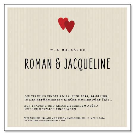Roman & Jacqueline: 1-seitig, 130×130 mm