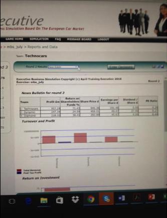 シミュレーションソフト画面の様子 ラウンド毎にチームの成績が分かる