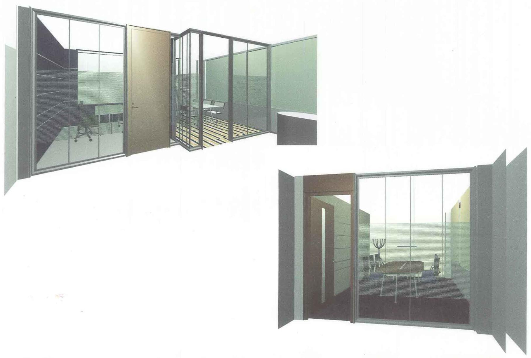2005.7 Low office 自社製品間仕切り壁を使ったオフィス。 エントランスに光る壁を設置した。