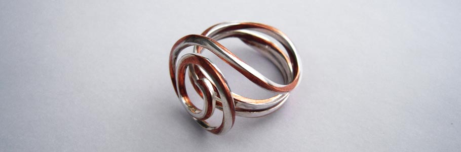 Schmuckunikate - Kupfer/Silber damaszierter Unikatring