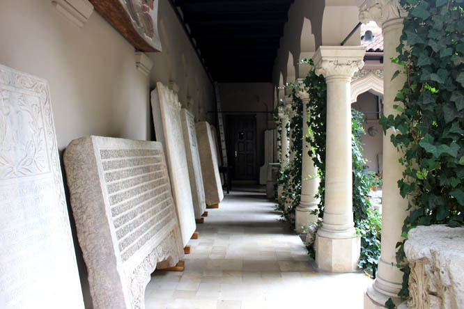 Gravestones in Monastery's court yard