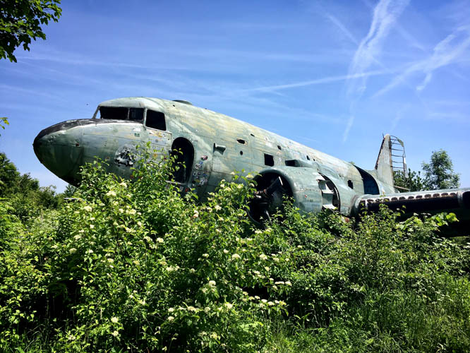 Abandoned airplane at Zeljava Air Base