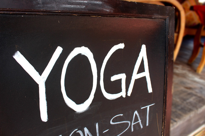 Yoga sign at Castaway