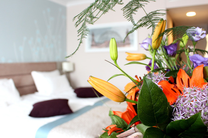 Flowers in Hotel Room