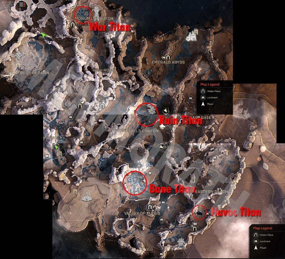 Titan locations by Reddit user Memmorath