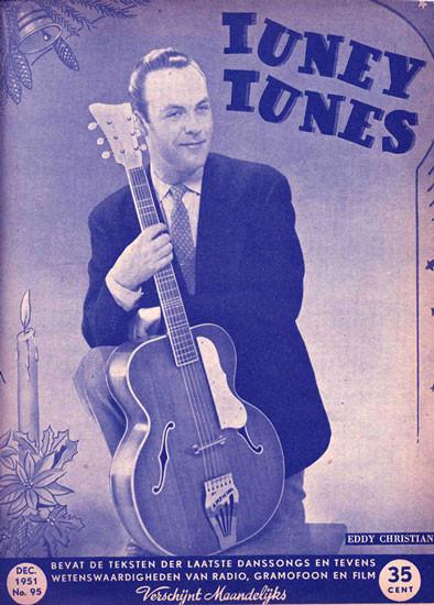 'Popidool' Eddy Christiani op de cover van de Tuney Tunes met een Amphion gitaar (Gitaarbouwerij Amphion Amsterdam, C.B. Willemsen)