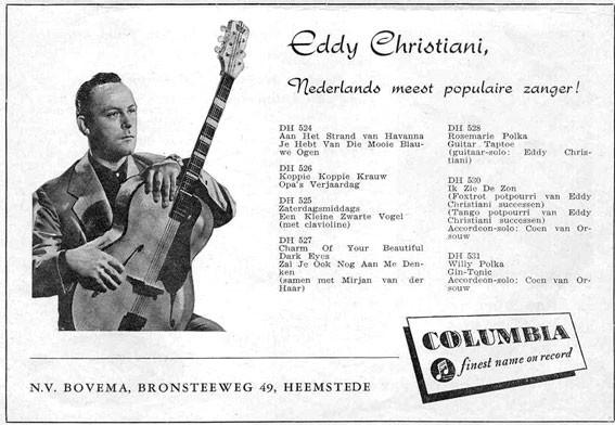 Advertentie van Bovema in Tuney Tunes (december 1953) Eddy Christiani met een Roger accoustische gitaar. Duits fabrikaat van gitaarbouwer Wenzel Rossmeisl.