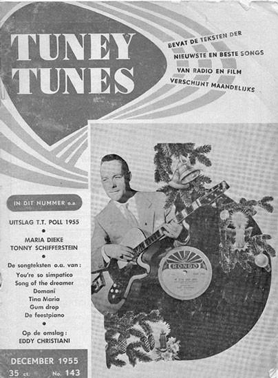 Eddy Christiani met zijn Framus 'Billy Lorento' gitaar en Rondo 78-toeren plaat op de cover van het Kerstnummer van Tuney Tunes in december 1955.