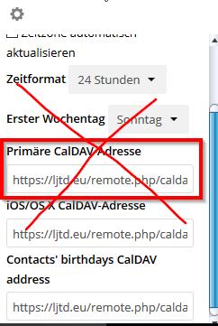 Primäre CalDAV-Adresse