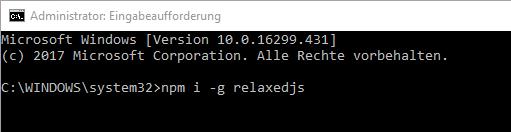 Relaxed JS installieren