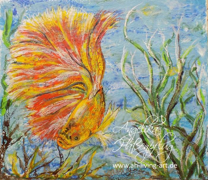 Wachsmalerei, Enkaustik, encaustic, Wachs, Meer, Fisch, abstrakte kunst, Auftragsarbeit, Angelika Haßenpflug, living art, malen kunst