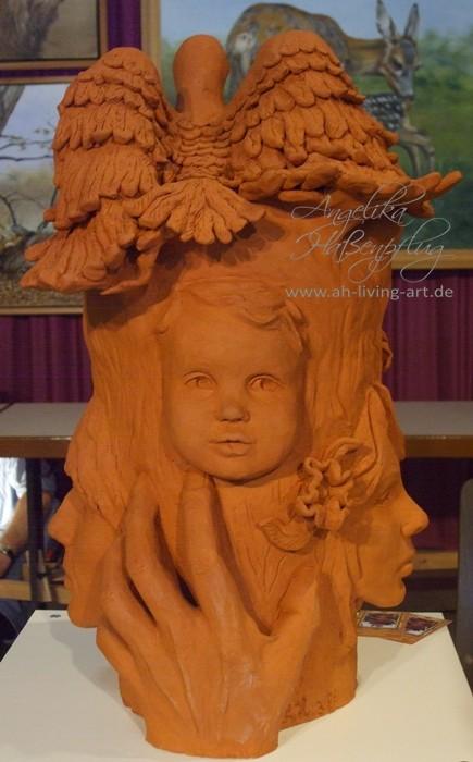 Terrakotta Ton Skulptur modellieren Lebensbaum Unikat