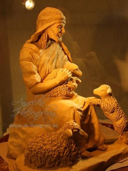 Hirte mit Schafen Skulptur Plastik anfertigen