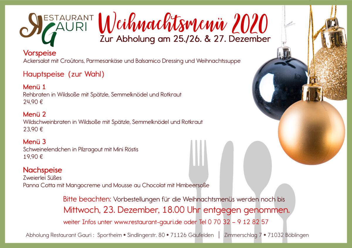 Weihnachtsmenü 2020 unseres Sportheims - Restaurant Gauri