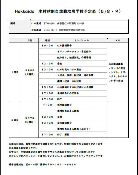 8日の農学校入校式には、木村校長から自然栽培についての講演をしていただけるこ とになりました。
