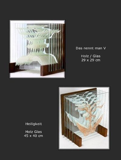 Glasskulpturen mit Holz