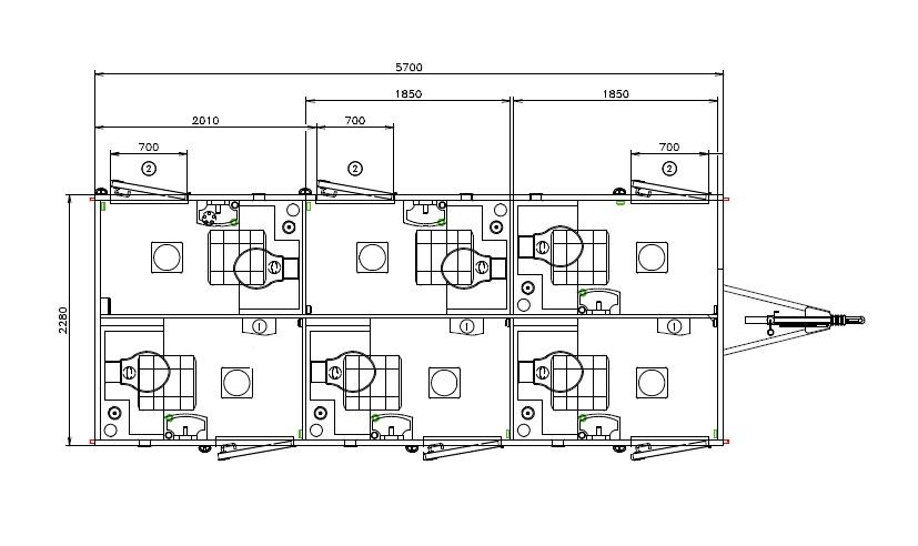 wc express komfort autark toilettenwagen 6 1 mit 6 einzelnen toilettenr umen wc. Black Bedroom Furniture Sets. Home Design Ideas