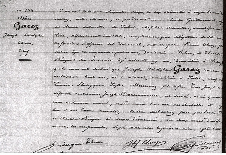 Etat-Civil de Seclin (ADN 1852-1879) - acte de décès de Joseph Adolphe GAREZ